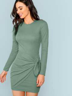 Knot Front Solid Bodycon Dress