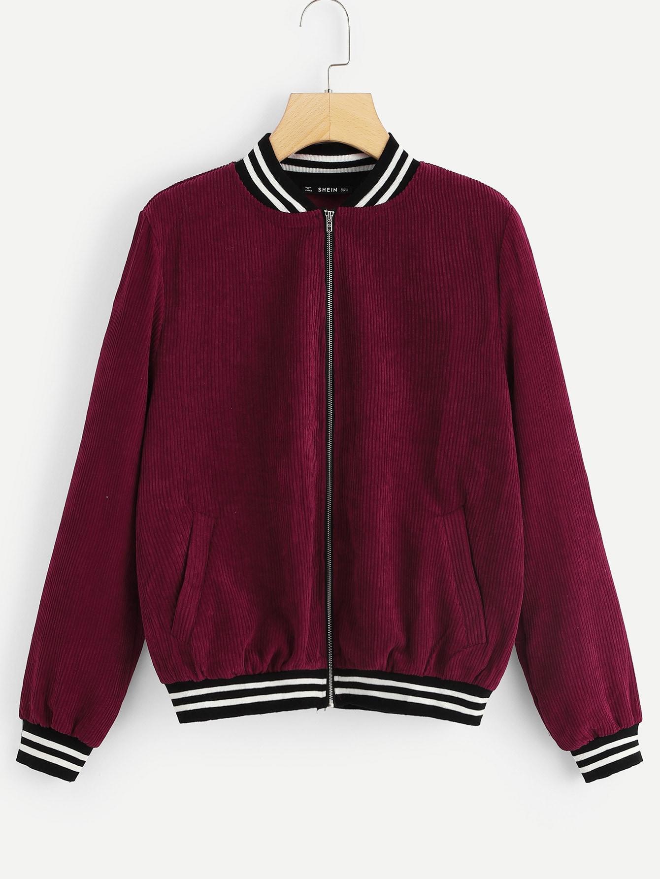 Купить Куртка на молнии с полосатым низом, null, SheIn