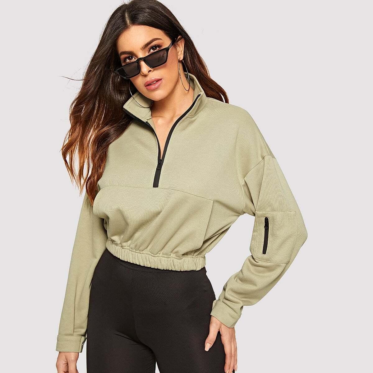 Abrikoos Casual Sweater Rits