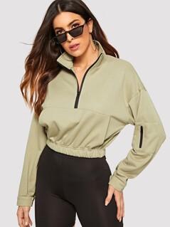 Zip Half Placket Pocket Front Sweatshirt
