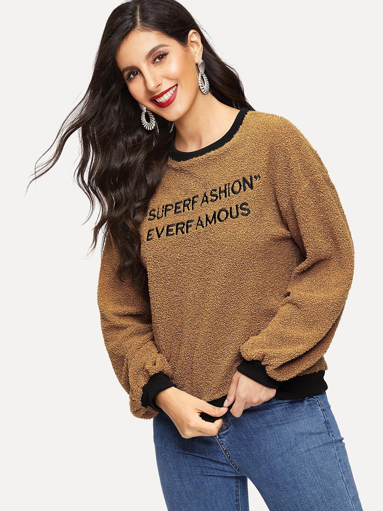 Купить Пуловер тедди с заниженной линией плеч и вышитым текстовым принтом, Jeane, SheIn