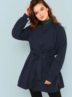 Plus Drop Shoulder Belted Coat