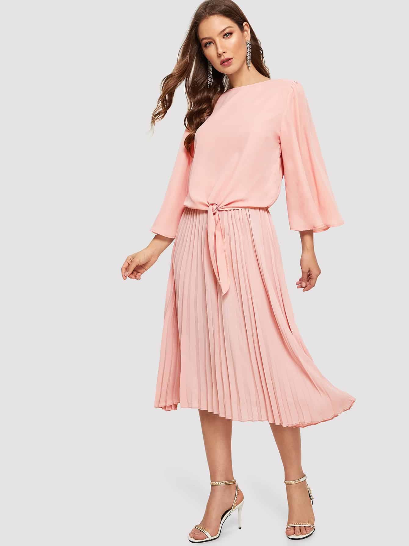 Купить Топ с оригинальным рукавом и юбка со складками комплект, Debi Cruz, SheIn