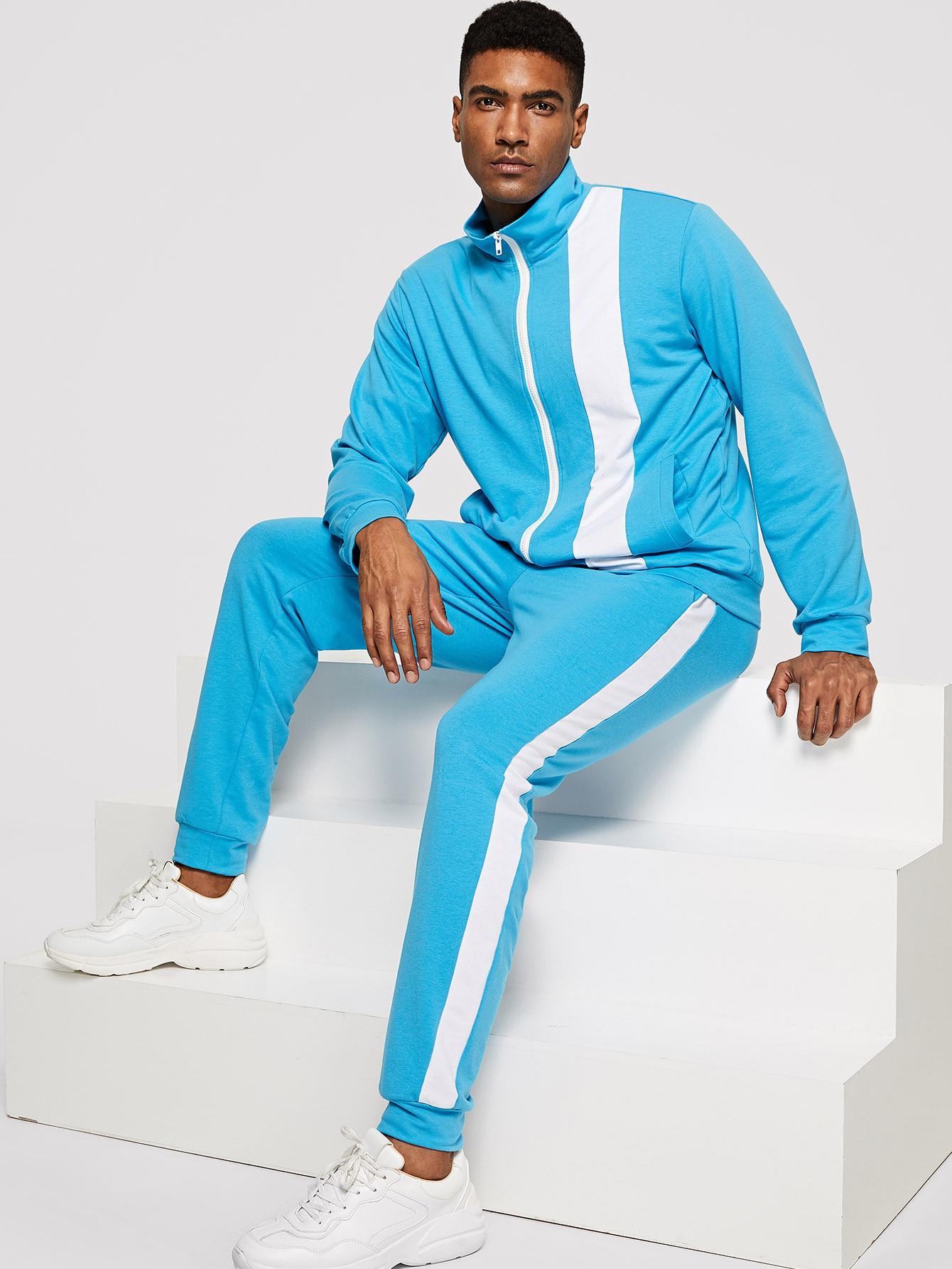 Купить Мужской контрастный свитшот с молнией и брюки комплект, Johnn Silva, SheIn