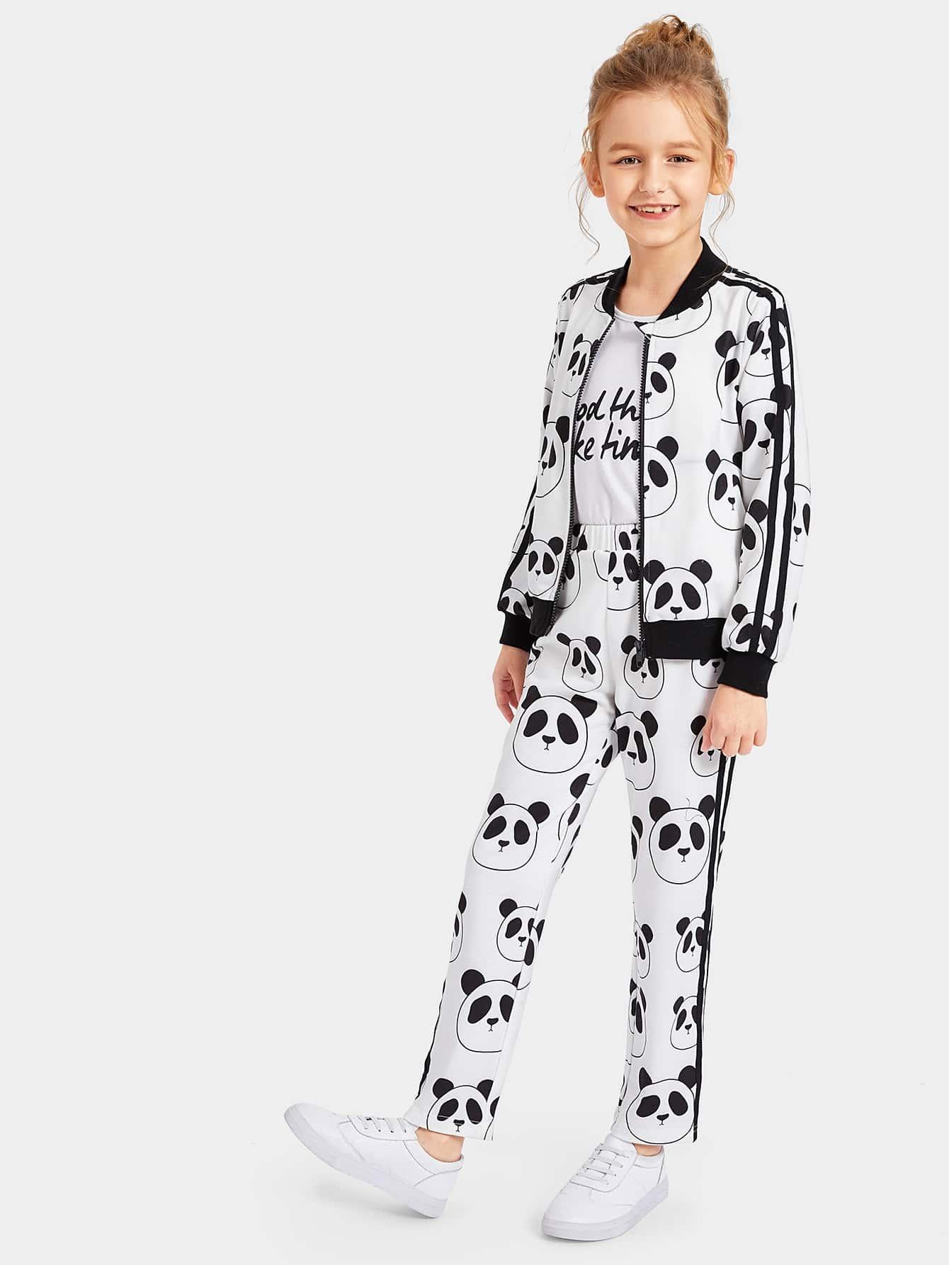 Купить Женская куртка с графическим принтом и брюки комплект, Sashab, SheIn