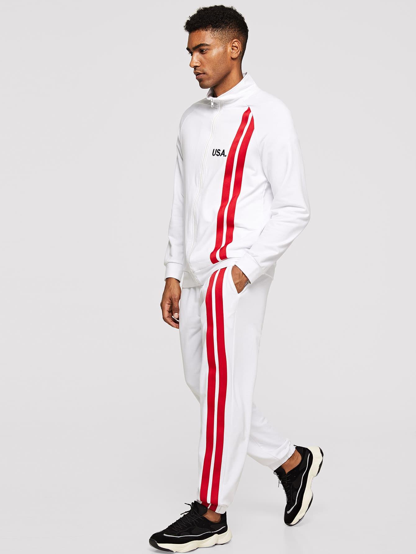 Купить Мужской полосатый свитшот с молнией и брюки комплект, Johnn Silva, SheIn