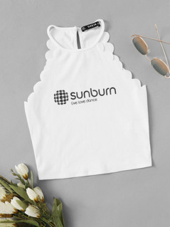 Sunburn Scallop Trim Letter Print Halter Neck Top