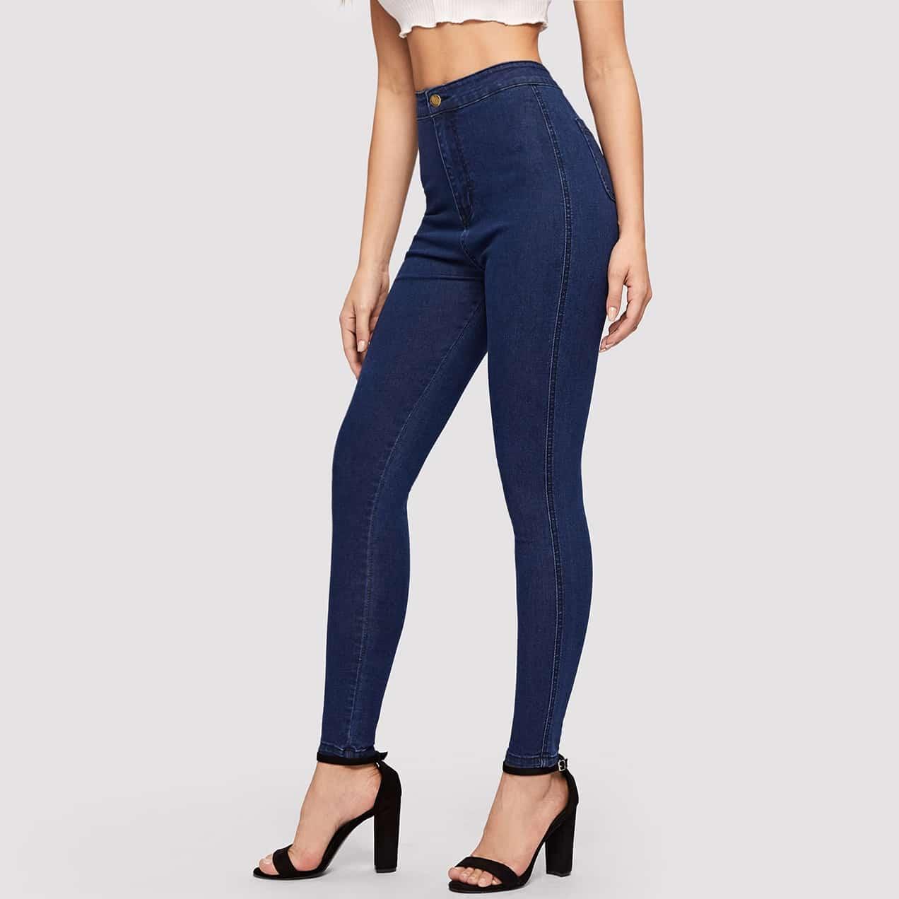 Blauw Basics Vlak jeans
