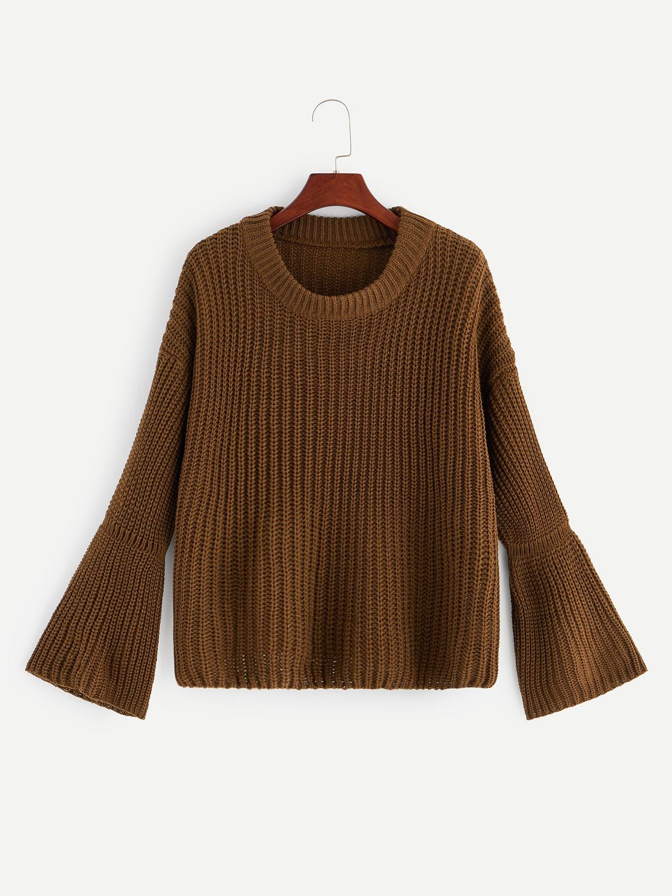 Купить Джемпер с оригинальтным рукавом и заниженной линией плеч, null, SheIn