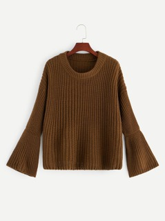 Drop Shoulder Bell Sleeve Jumper