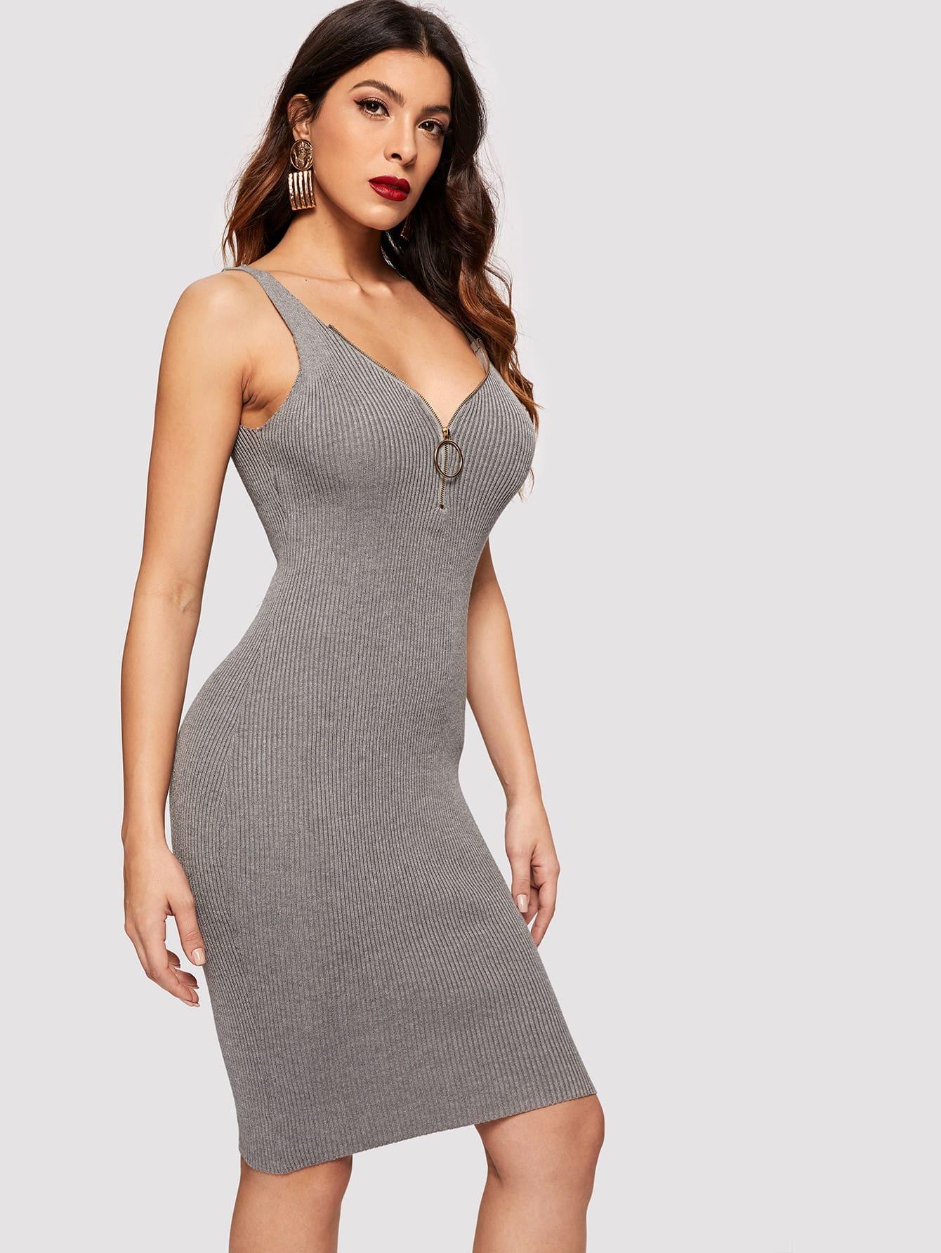 Купить Вязанее облегающее платье-джемпер с молнией, null, SheIn