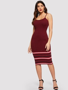 Ribbed Knit Stripe Cami Dress