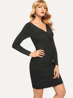 Twist Front Bodycon Sweater Dress