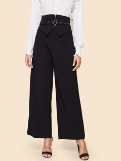 80s High Waist Solid Wide Leg Pants