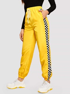 Checked Side Seam Elastic Hem Windbreaker Pants