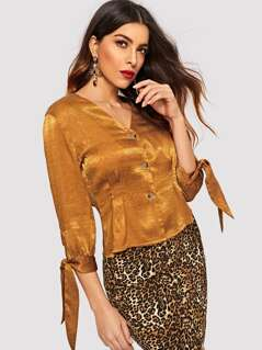 Knot Cuff Fitted Silky Blouse