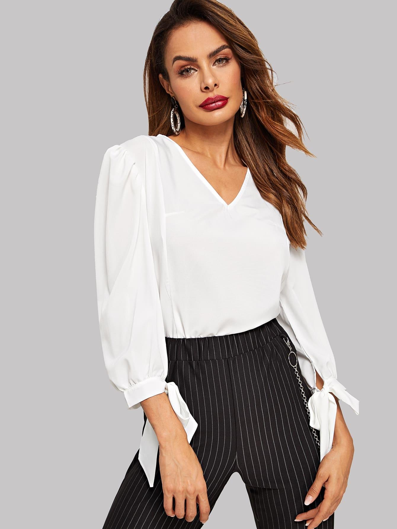 Купить Стильная блуза с v-образным вырезом, Andy, SheIn