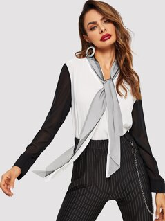 Tie Neck Colorblock Top