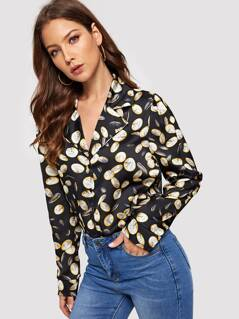 Notch Collar Allover Print Shirt