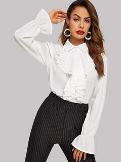 Bell Sleeve Lace Trim Jabot Blouse
