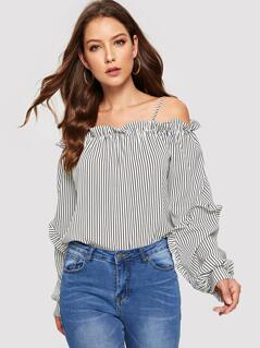 Ruffle Cold Shoulder Striped Top