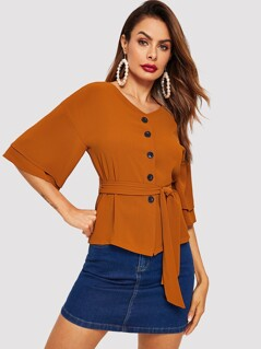 Tiered Flounce Sleeve Buttoned Belted Blouse