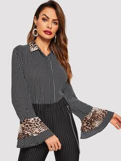 Contrast Collar Leopard and Polka Dot Shirt