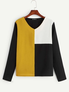 V-neck Cut-and-sew Top