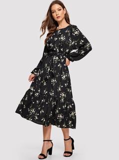 Lantern Sleeve Self Belted Floral Dress