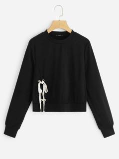 Grommet Lace Up Detail Sweatshirt