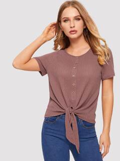 Button Front Knot Hem Waffle Knit Tee