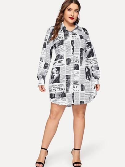 Plus Newspaper Print Curved Hem Shirt Dress
