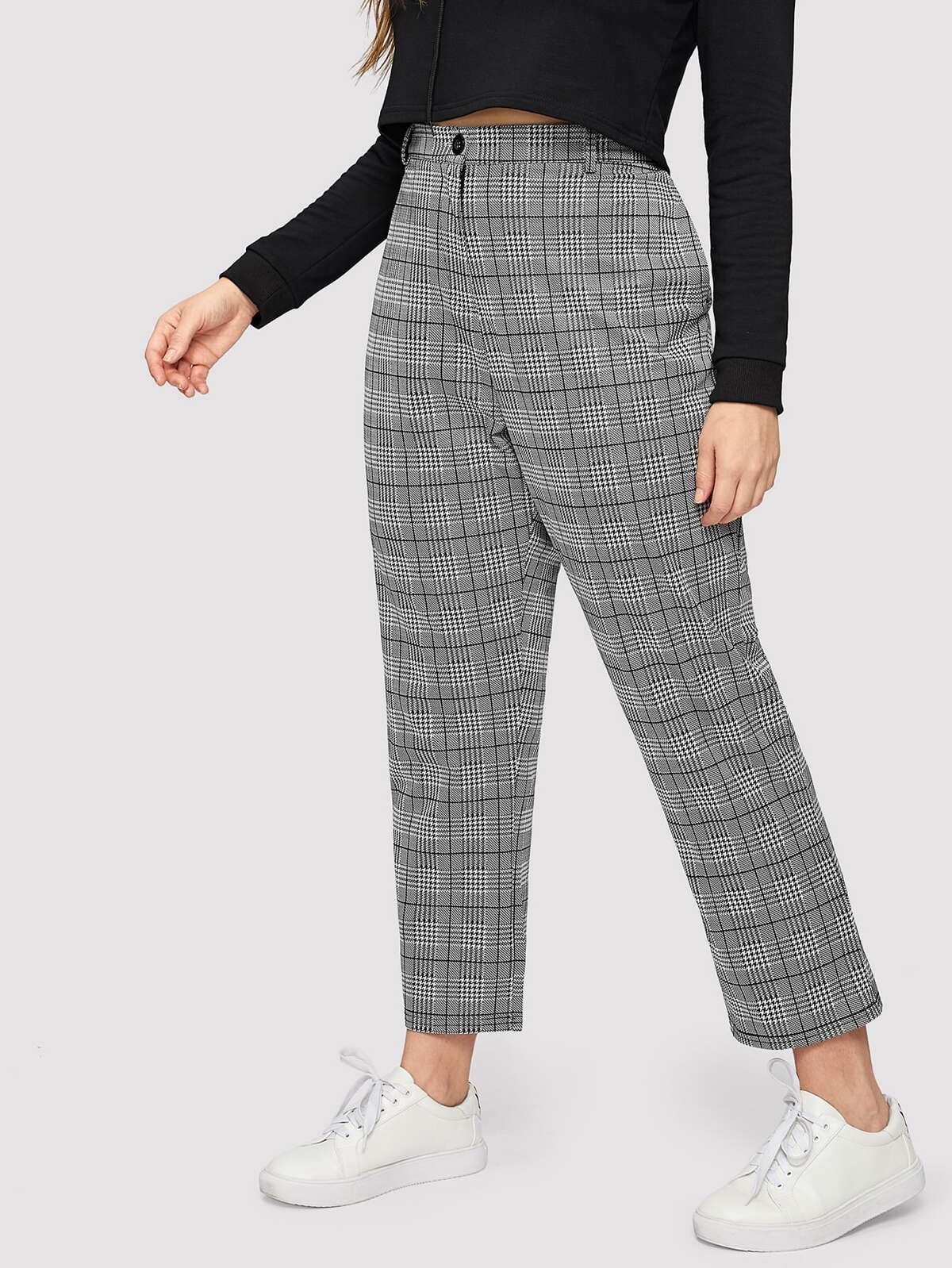 大尺碼 蘇格蘭格紋 口袋 側邊 褲