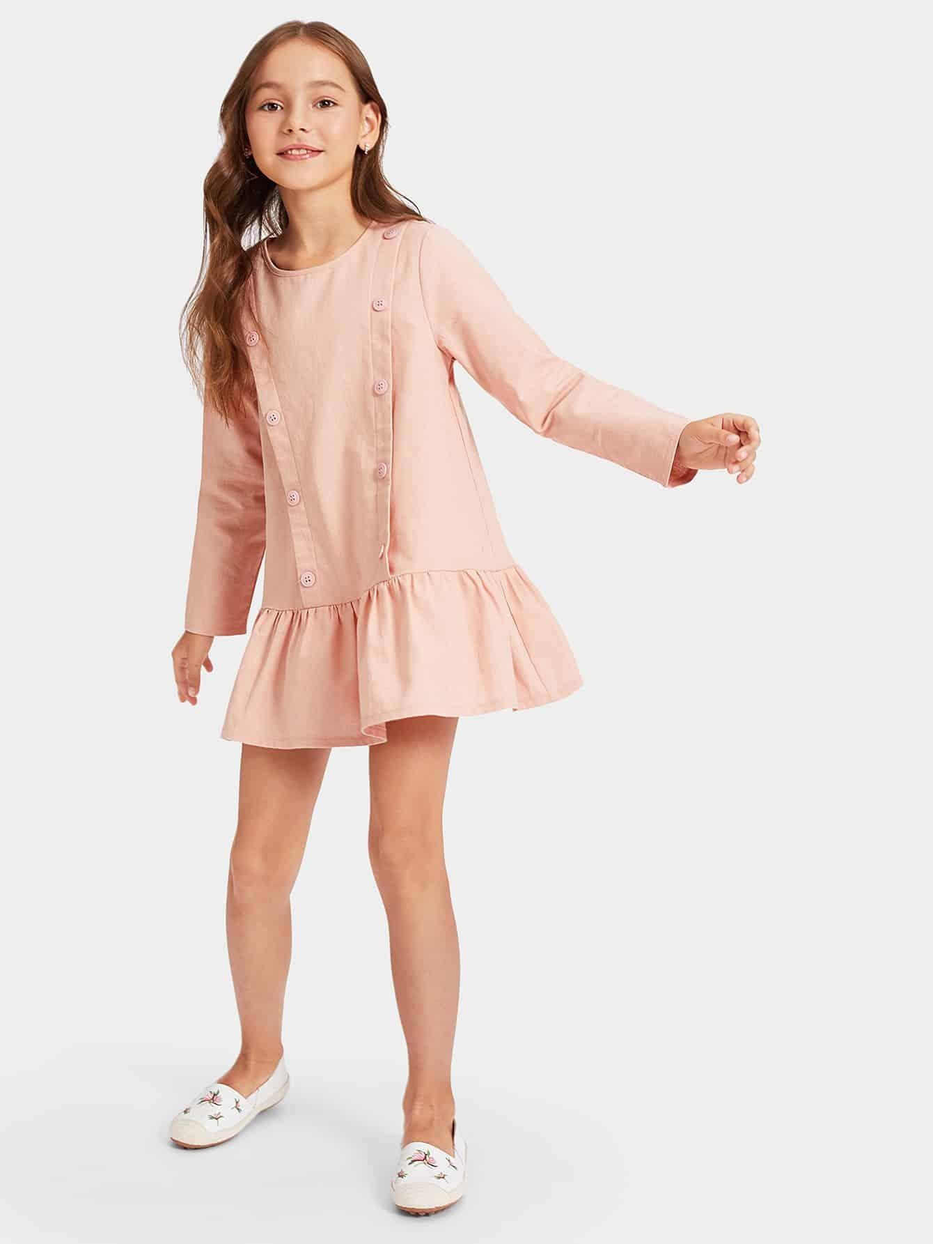 Купить Женское платье с пуговицами и оборкой, Alice A, SheIn