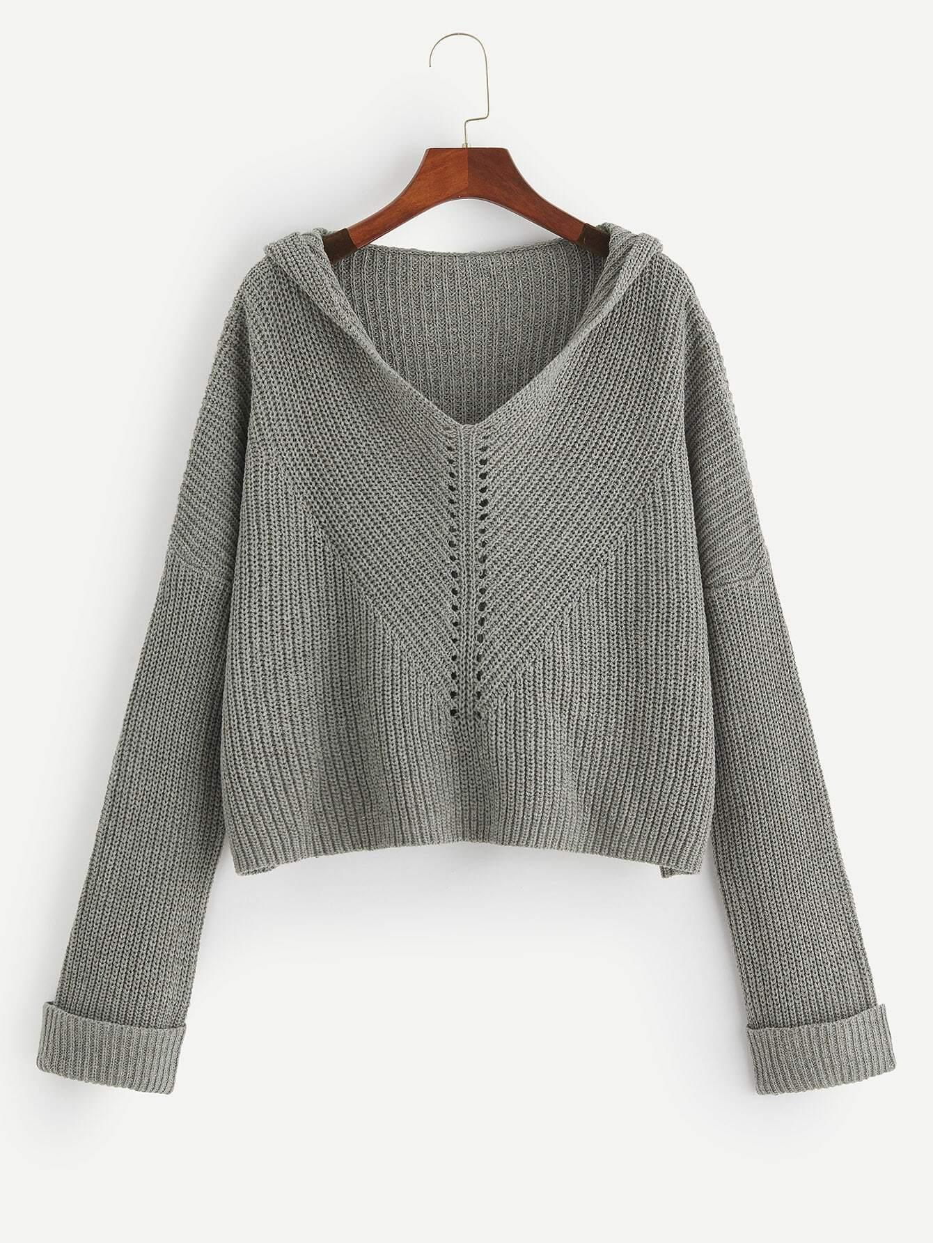 Купить Размера плюс свитер крупной вязки с капюшоном, null, SheIn