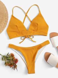 Crisscross Knot Back Textured Bikini Set