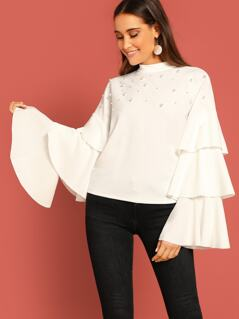Layered Sleeve Pearls Detail Top