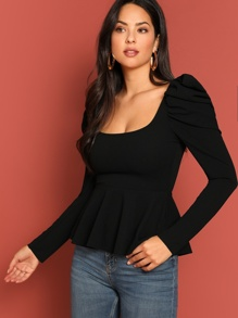 Square Neck Puff Sleeve Peplum Top