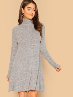 High Neck Marled Knit Swing Dress