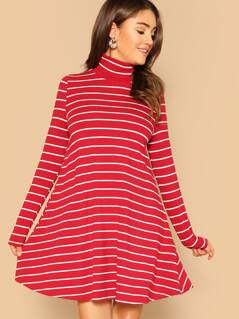 High Neck Striped Swing Dress