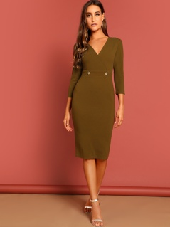 Wrap Front Buttoned Waist Pencil Dress