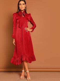 Tie Neck Ruffle Hem Solid Dress