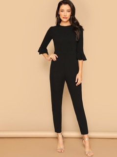 Flounce Sleeve Zip Back Solid Jumpsuit