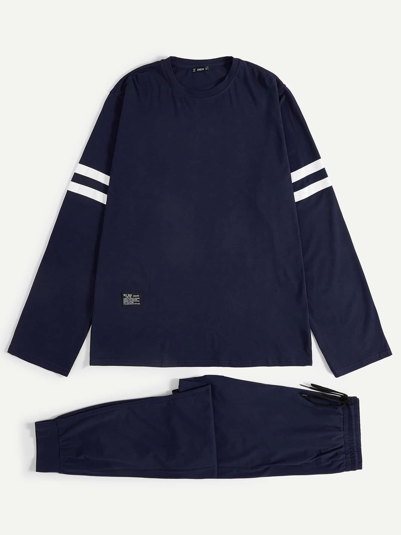 Купить Мужские топ и брюки пижамы комплект, null, SheIn