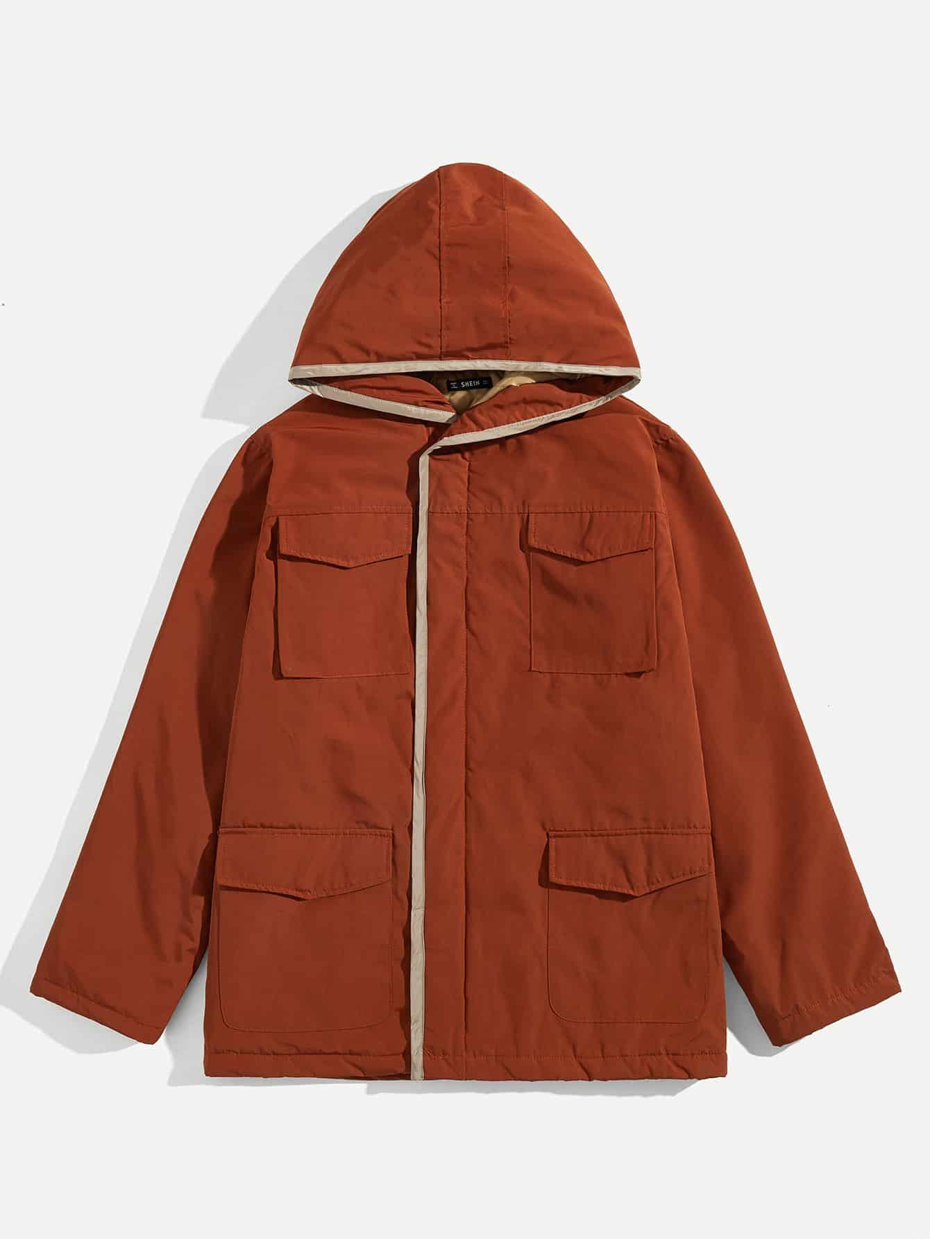 Купить Мужское пальто с капюшоном и карманом, null, SheIn