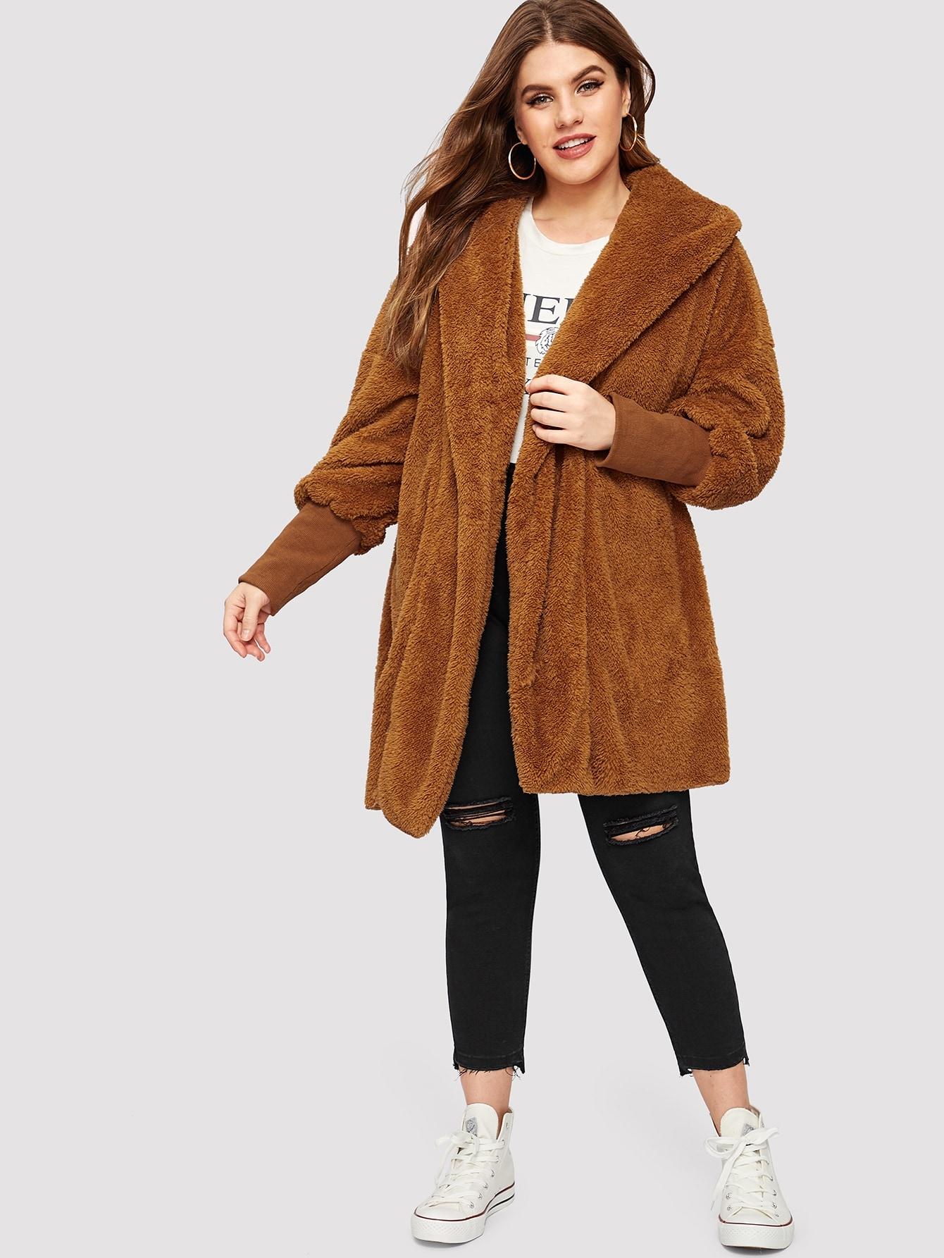 Купить Размера плюс пушистое пальто с капюшоном и оригинальным рукавом, Isabela, SheIn