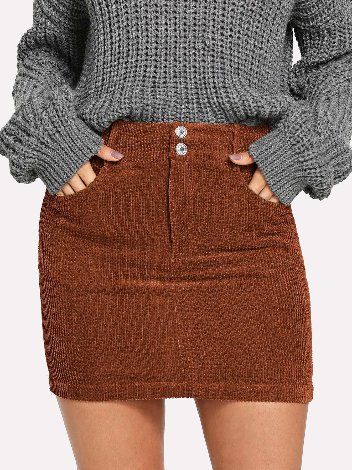 Облегающая юбка с пуговицами и карманом, Andy, SheIn  - купить со скидкой