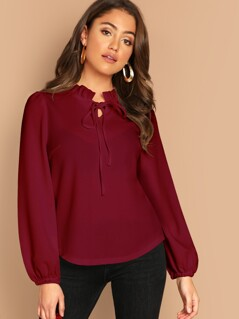 Frilled Neck Knot Solid Blouse