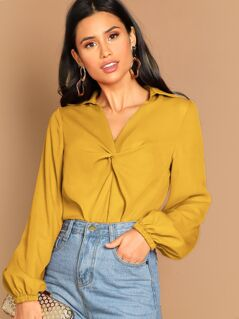 Twist Front Lantern Sleeve Top