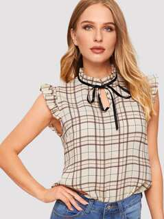 Tie Neck Keyhole Frill Trim Plaid Top